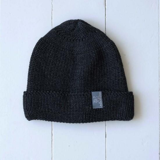 Caciula tricotata din lana merinos si matase - Pickapooh - Anthracit