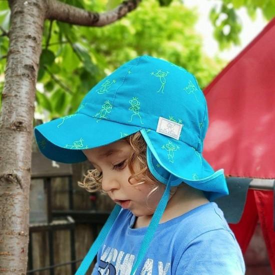 Palarie de soare din bumbac organic cu protectie pentru urechi si snur - Pickapooh - Tom Blue