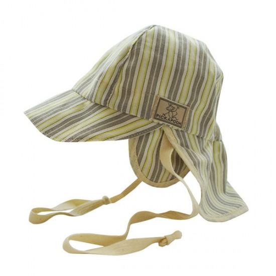 Palarie de soare din bumbac organic cu protectie pentru urechi si snur - Pickapooh - Tom Stripes