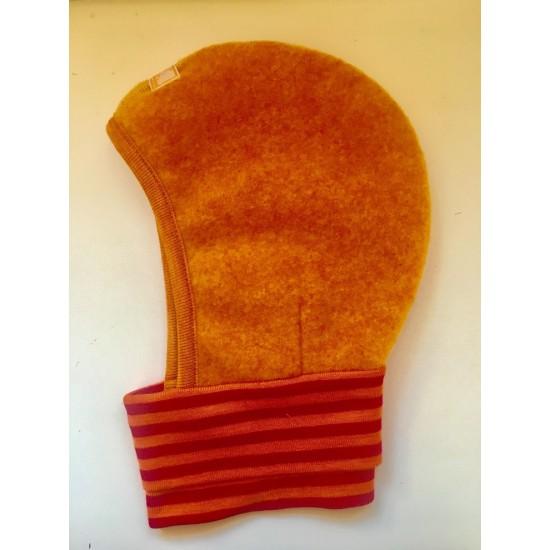 Cagula din lana merinos fleece KBT si matase - Pickapooh - Orange