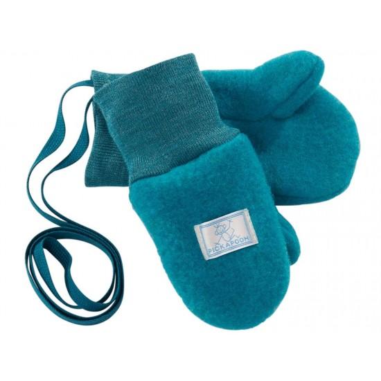 Manusi din lana merinos organica fleece - Pickapooh - Petrol