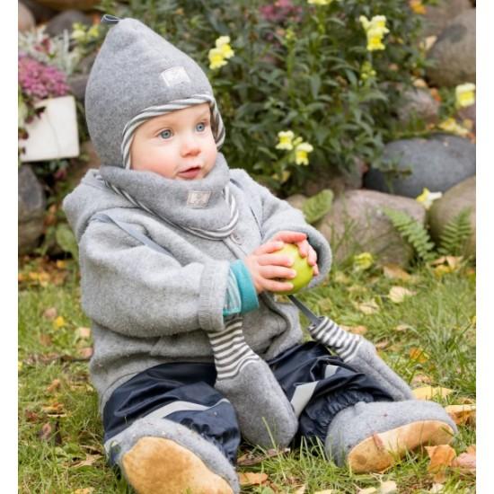 Manusi din lana merinos organica fleece - Pickapooh - Gri