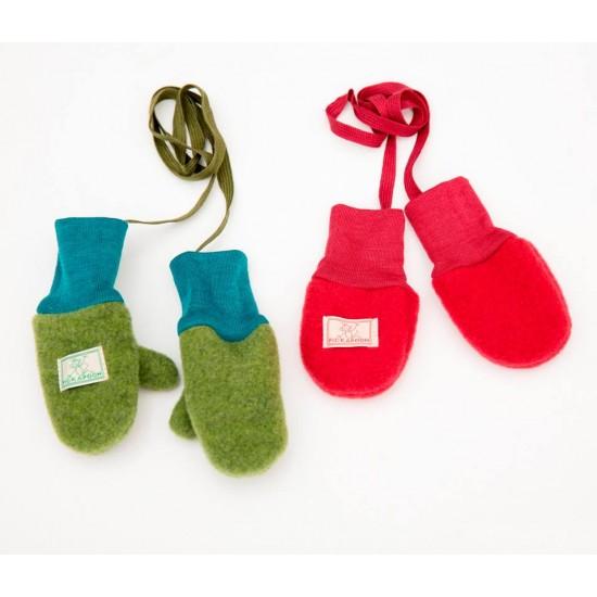 Manusi din lana merinos organica fleece - Pickapooh - Verde