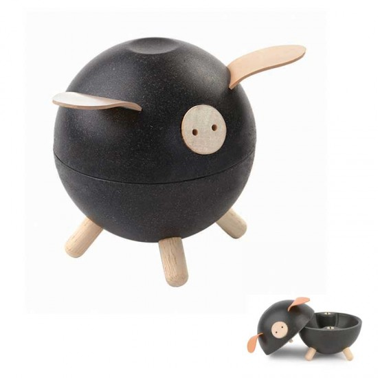 Black Piggy Pusculita din lemn Plan Toys