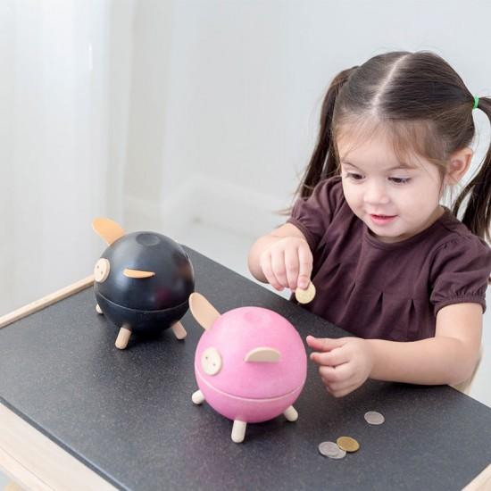 Pink Piggy - Pusculita din lemn