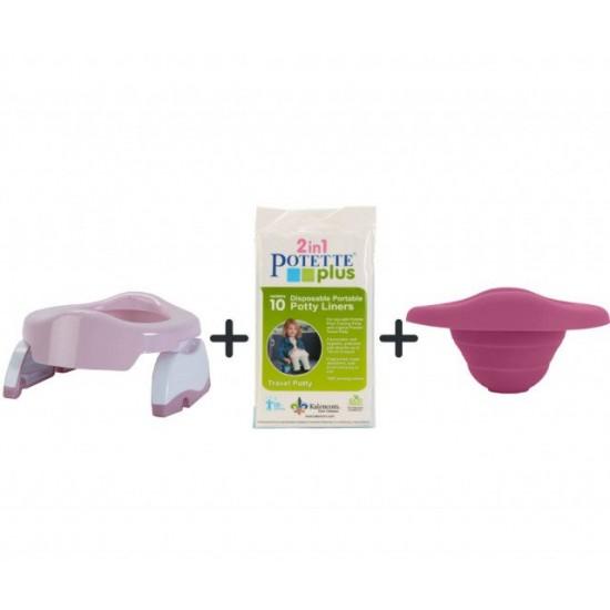 PACHET ECONOMIC ROZ Potette Plus: olita portabila + liner reutilizabil + 10 pungi biodegradabile