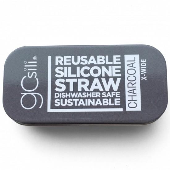 Pai refolosibil din silicon+cutie metalica de transport - Silikids - X-wide Charcoal