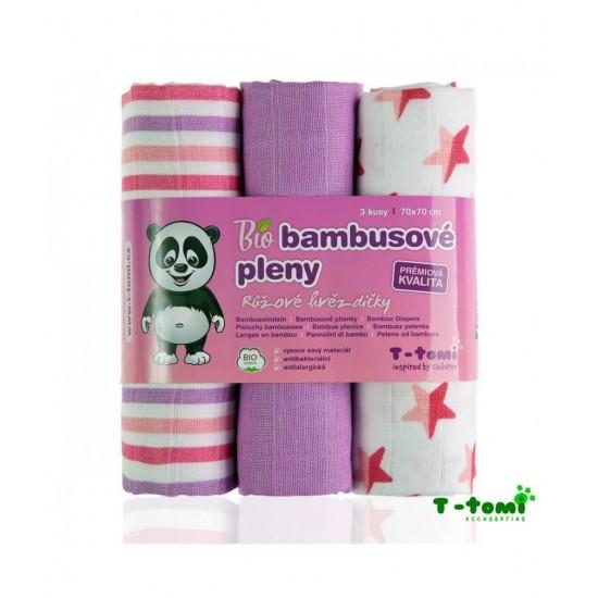 Scutece traditionale din bambus - 3 bucati - T-Tomi Accessories - Pink Stars