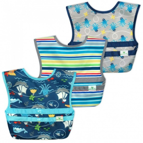 Set 3 bavetele Easy Wear Snap'n Go - Green Sprouts - Pirates