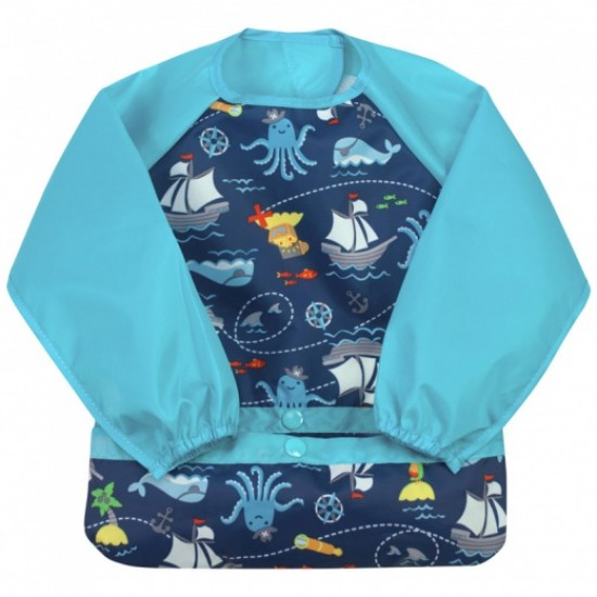 Bavetica multifunctionala cu maneci lungi - Green Sprouts - Navy Pirates