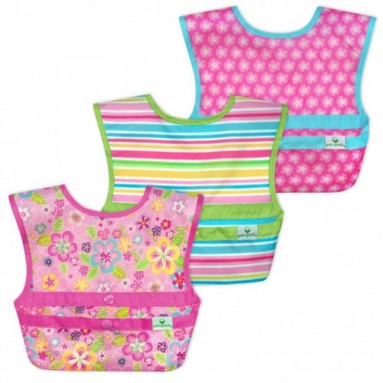 Set 3 bavetele Easy Wear Snap'n Go - Green Sprouts - Flower Field