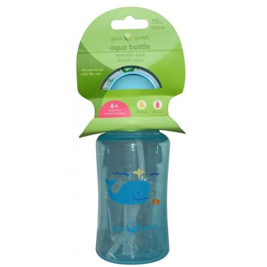 Sticla cu pai din silicon - Green Sprouts - Aqua