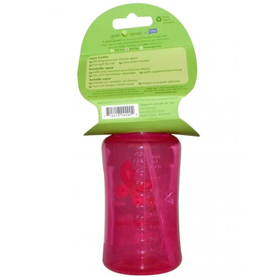 Sticla cu pai din silicon - Green Sprouts - Pink