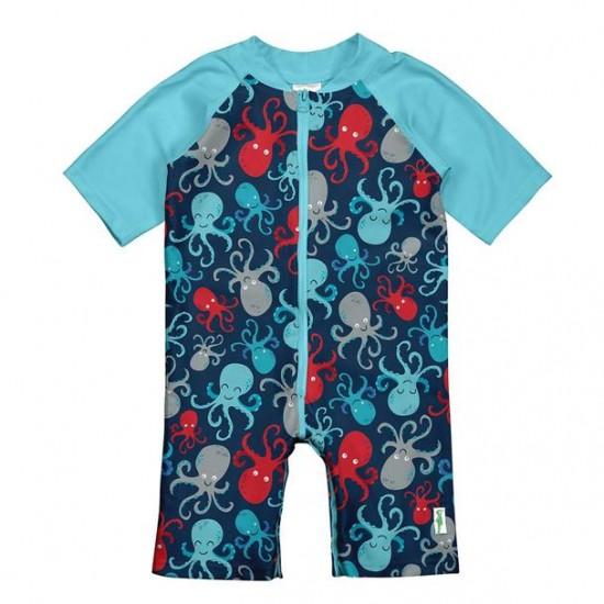 Costum intreg copii Navy Octopus SPF50+ cu fermoar si capse