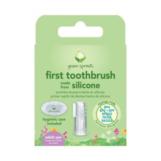 Periuta de dinti cu peri din silicon degetar+cutie depozitare - Green Sprouts