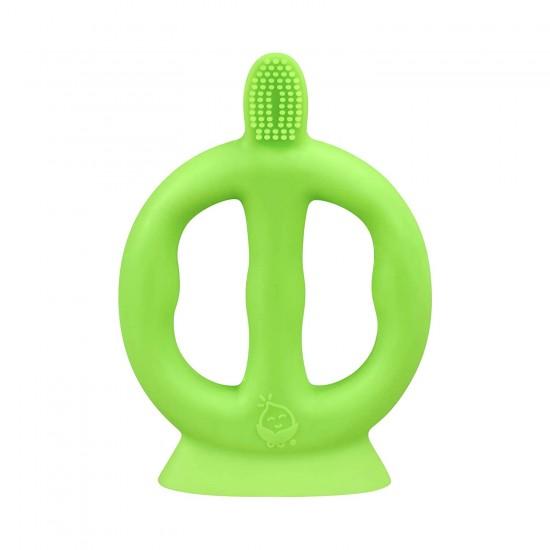 Periuta de dinti cu peri din silicon si manere - Green Sprouts - Green
