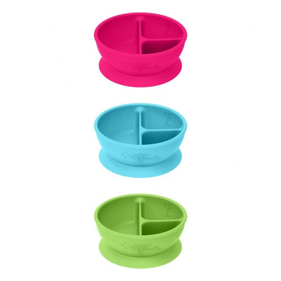 Bol de invatare compartimentat - Learning Bowl Divided - Green Sprouts - Pink