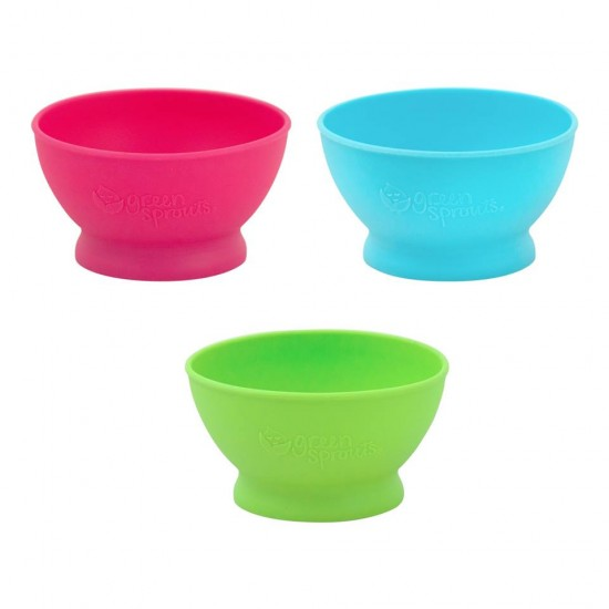 Bol de invatare - Learning Bowl - Green Sprouts - Pink