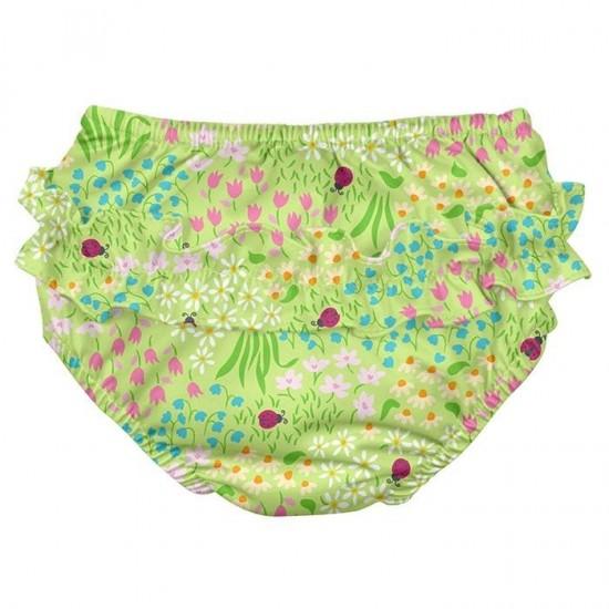 Scutec fete refolosibil Green Flower Patch SPF 50+ pentru inot (cu volanase)