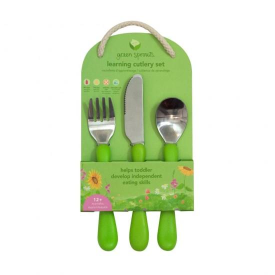 Set tacamuri de invatare - Learning Cutlery - Green Sprouts - Aqua