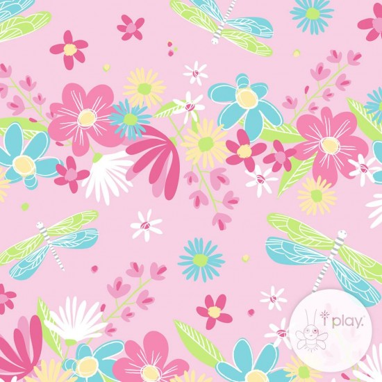 Scutec fete refolosibil pentru inot SPF 50+ - Green Sprouts by iPlay - Light Pink Dragonfly Floral (cu volanase)