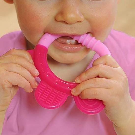 Jucarie pentru dentitie si periuta masaj gingii - Green Sprouts - Pink&Purple
