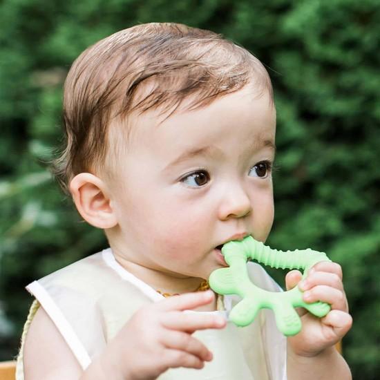 Jucarie pentru dentitie si periuta masaj gingii - Green Sprouts - Green