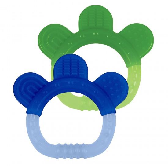 Jucarie pentru dentitie si periuta masaj gingii - Green Sprouts - Blue&Green